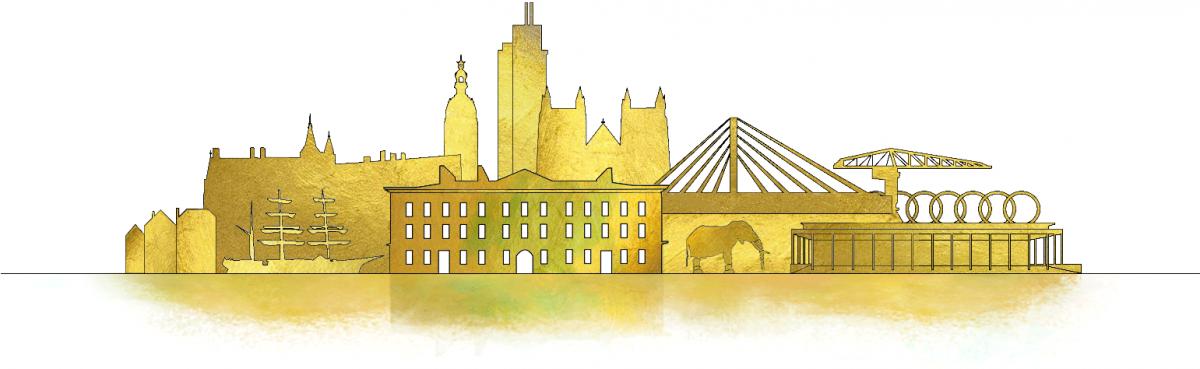 skyline doré représentant les principaux monuments de Nantes
