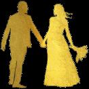 Illustration représentant un couple en tenue de mariage